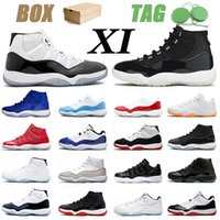 Nike Air Jordan Retro 11 25th AJ Jordans Erkek Bayan Basketbol ayakkabıları Jumpman 11S XI Citrus Low Concord High Bred Gamma Blue Space Jam Cap and Gown Ayakkabıları Eğitmenler