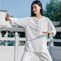 fabriks grossist! 2021 SMARTIAL ARTS SETS PRING NYHET KVINNOR RETRO MORNING ÖVNING LINEN SAND WASH Handgjord skivspänne Tai Chi Clothingg Martial Artss Clothings