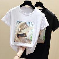 Kadınlar Yaz T Shirt Tops Boncuk T-shirt Pamuk Tshirt Beyaz Siyah Kısa Kollu Vetement Femme Kore Giyim Kadın