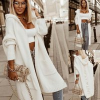 Women Knitted Sweater Autumn and Winter Wool Jacket Trench Coat for Casual Loose Mid-Length