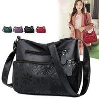 Evening Bags 2 Layers Women's Handbag Casual Multi-pocket Female Shoulder Retro Flower Print Crossbody Bag Lady Pu Leather Messenger