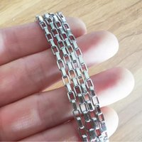 5meter Lot in bulk Silver Jewelry findings 3MM Box Chain Stainless steel Link Suitable for making DIY