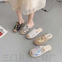 Flip Flophalf Slacker Pullu Dantel Kadınlar 2021 Yeni Net Kırmızı Saman Baotou Fisherman's Ayakkabı Büyük Boy Terlik