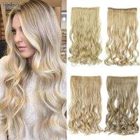 Perruques synthétiques 5 Clips dans les cheveux Naturels Noir Ombre Blonde Pièces de poitrine bouclée pour femmes blanches Fibre chaleureuse