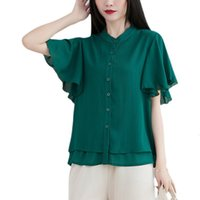 Standing collar Women's Shirts Effects Color Back Short Mouw Lui Wind Loose Office Blouse Multilateral Women's Shirt