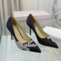 Dress Shoes High Heels Women Pumps Genuine Leather Leaves Shaper Rhinestone Decor Diamond For Party Ladies Designer