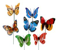 다채로운 두 레이어 깃털 큰 나비 스테이크 가든 장식품 파티 파티 장식 야외 정원에 대 한 장식 가짜 곤충 HWB10191