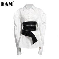 [EAM] Женщины Белый Нерегулярный молния PU Блузка Новый отворот длинный рукав Свободная подходящая рубашка мода прилив весна осень 2020 1Z594