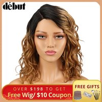 Debut Lace Wig Human Hair Wigs For Black Women Part Bob Nature Wave Remy Ombre Curly