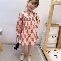 Новая летняя мода бренд мультфильм буква стиль детская девушка одежда с длинным рукавам медведь печать платье ребенка девушка принцесса платье 2-10 лет