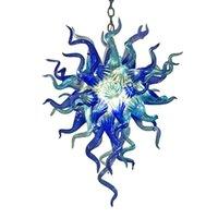 Lampade nordiche cono in vetro a sospensione in vetro azzurra a colori e froto colore cristallo in cristallo ciondolo lampada a punta lampada a led 18 di 24 pollici lampadario per la decorazione della casa soggiorno