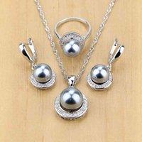 Prata 925 preto simulado pérolas com beads conjuntos de jóias para mulheres casamento pingente brando brincos anéis colar conjunto