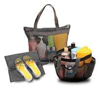 Сумки для хранения Мульти-карманные сетки душа Caddy Tote сумка подвешивает портативный туалетные принадлежности для мужчин и женщин