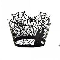 Spiderweb الليزر قطع ورقة كعكة كيك مغلفة مغلفة الحالات الخبز كأس حالة الزفاف عيد حزب ديكور DHB8856