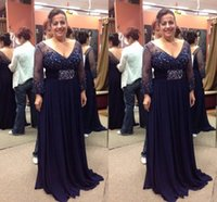 Navy Blue Mother of the Bride Dresses Long Sleeves Crystal Beading Chiffon Plus Size Women Evening Dress V-Neck Formal Prom Party Gowns