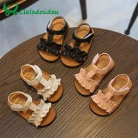 Claladoudou 12-16cm Sandalias para niños Pink Beige Puro Verano Girls Ruffles Princess Shoes Antideslizante Bebé Niño 210729