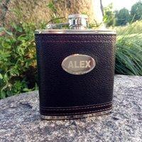 Hüftflaschen 6oz / 9oz Personalisierte Flasche benutzerdefinierte schwarzes Leder Edelstahl Lasergraviertes Geschenk für ihn, Groomsmen Geschenke