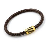 Webart Leder Silber Gold Magnetische Verschluss Zopf Armband Manschette Frauen Männer Modeschmuck Willen Und Sandy Drop Ship Charm Armbänder 1311 Q2