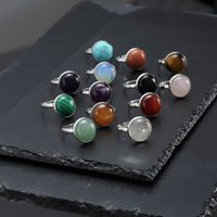 12mm Stainless Steel Round Natural Stone Ring Tiger Eye Opal Pink Crystal Adjustable Rings for Women Pendientes Jewelry