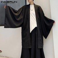 Men's Casual Shirts INCERUN Men Black Cardigan Shirt Open Stitch Outwear Man Trench Long Sleeve Coats Fashion Japanese Style Yukata Tops