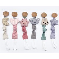 Dummy Pacifier Chain Wooden Clip with Plush Animal Toys Soot...