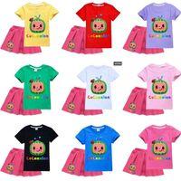 Two Piece Cocomelon Outfit Kid Girls Cartoon T Shirt E Dress Set Designer Shirt Shirt Shirt Top Top Pieghettato corto Gonne Sportswear Casual Outfit Playsuit Vestiti G49O9QY