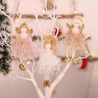 크리스마스 장식 1pc 솜털 크라운 모자 포니 테일 천사 소녀 인형 장난감 홈 크리스마스 연도 테이블 장식 트리 펜던트 장식품