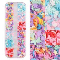 Nail Art Süslemeleri 1 Kutu Renkli Slime Rhinestones Kalp / Kar Tanesi / Bulut Tatlı Desen Tasarım Dilimleri Manikür Dekorasyon İpuçları FWD9925