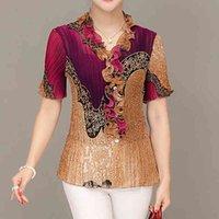 Women's Blouses & Shirts Blusa feminina de meia-idade chiffon, camisa manga curta com gola v estampada, plus size, blusa fashion solta r205 53ZB
