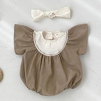 Jumpsuits Baby Boy Clothes Girls Pure Color Caucal Romper Short Sleeve Born 0-3 Y Kids Overalls 2021 Summer Korean Style Infant