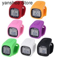 Counters 6-finger 8-way Led Backlit Digital Watch Singing Time Prayer Ring Silicone Electronic