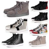 Kırmızı Alt Rahat Ayakkabılar Loafer'lar Erkekler Kadınlar Çift Perçin Çiviler Düz Ayakkabı Tasarımcısı Stilist Sneakers Marka Süet Patent Deri Eğitmenler Ile 35-48