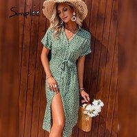 Simplee Green Print Button Midi Sommerkleid Urlaub V-Ausschnitt Sommer Frauen Kleider 2021 Casual Lace-up Damen Elegant A-Line Vestidos