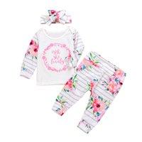 Печать детских костюмов Цветочные буквы Прекрасный полосатый с длинным рукавом сломанные цветы эластичные нижние брюки 3 шт.