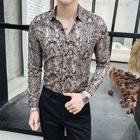 Printemps Snake Grain Printing Homme Cultivation à manches longues Loisirs Temps de loisirs Chemises officielles pour hommes Camisa Slim Fit Masculina Hommes Robe