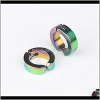 & Screw Back Jewelry Unisex Stainless Steel Fake Stud Cuff Hoop Non-Piercing Clip-On Earrings Punk Dilataciones Falsas Piercing Ps1409 Drop