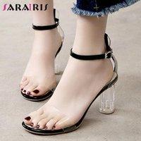 Sarairis Bayanlar Yüksek Temizle Topuklu Sandalet Yaz Tatlı Muhtasar Sandalet Kadınlar Trendy Şeffaf Kayış Ayakkabı Kadın N9PF #