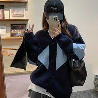 Women Girl 's Check Knit Sweater Cardigans Knitwear Y2K Long Sleeve Vintage Cropped Top 90s Cute Streetwear G1008