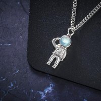 Mens Necklaces Spaceman Starry Sky Pendant Stainless Steel Gold Necklace Jewelry Chain On The Neck Gifts For Male Accessories Chains