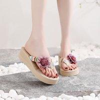 Rope Ins Imitation Travel Hemp Sandals Han Chao Wear Flower Flip Flop Beach High Heel Women's Slippers KOHK