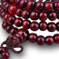 Perles de prière wengé multicouches 108 Collier de méditation bouddhiste tibétain de charme de méditation Yoga Bracelet en bois de santal chanceux pour femmes hommes 1205 Q2