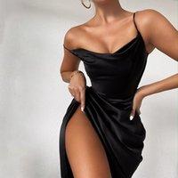 2021 European and American style banquet temperament elegant dress V-Neck Hight Side Split Sexy Mid skirt