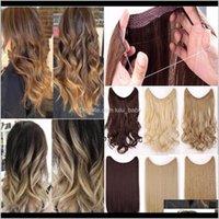 Штуки 24 Длинные прямые натуральные цвета шелковистые высокотемпературные волокна синтетические зажима в наращивание волос EZ2II SUJK4
