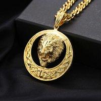 Link Fashion Brand Lion Head Cabeza colgante redonda Collar Hip Hop Para hombres y accesorios para mujeres