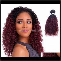 Ürünler Bırak Teslimat 2021 16 18 20 inç Afro Kinky Kıvırcık Sentetik Uzantıları Demetleri 1B / Hata Ombre Saç Atkılar FLC-002 7SF5V