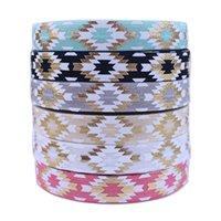 """5/8 """"Goldfolie weiße Tinte gedruckt Aztec Foe Falten Sie über elastisches Band für DIY-Haar-Krawatten-Accessoire willkommen"""
