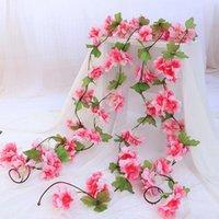 Decorative Flowers & Wreaths Silk Sakura Cherry Blossom Vine Lvy Wedding Arch Decoration Layout Home Party Rattan Wall Hanging Garland Wreat
