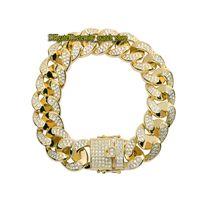 Eternità di alta qualità hip hop gioielli pavé diamante 18mm largo catena cubana mens braccialetto di hip hop gioielli ghiacciati con diamante mens bracciale
