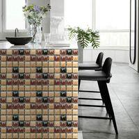 Tile Floor Stickers Bathroom Kitchen Waterproof Self Adhesive Paste Wall Decals Retro Ground Decor Stick Home