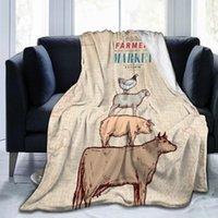 Flanelle couverture ferme animaux agriculteurs affiche lumière mince lavage mécanique chaude couvertures douces jeter sur canapé-lit patchwork
